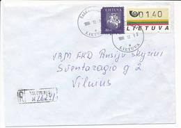 Registered Uprated ATM Commercial Domestic Cover - 19 December 1996 Šalčininkai - Lithuania