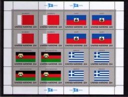 BANDERAS ONU - NU FLAGS - MINI HOJA - MINI SHEET - BAHRAIN - HAITI - AFGHANISTAN - GREECE - Sellos