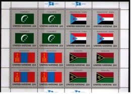 BANDERAS ONU - NU FLAGS - MINI HOJA - MINI SHEET - COMOROS - DEMOCRATIC YEMEN - MONGOLIA - VANUATU - Sellos