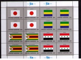 BANDERAS ONU - NU FLAGS - MINI HOJA - MINI SHEET - JAPAN - GABON - ZIMBAWE - IRAQ - Sellos
