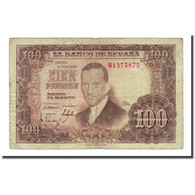 Billet, Espagne, 100 Pesetas, 1953-04-07, KM:145a, TB - [ 3] 1936-1975 : Régence De Franco