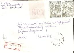 Belgique 1977 - Lettre Recommandée De MECHELEN 2 - Anvers - Cob 1856 X 2/cachet Mécanique 3.50 F - Belgique
