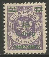 Klaipeda (Memel) - 1923 Arms Centu Surcharge 15c/40m  MH *    Mi 209 - Memel (1920-1924)