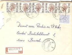 Belgique 1973 - Lettre Recommandée De MECHELEN 5- Anvers - Cob 854/1644 X 5 - Belgique