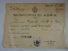"""Documento """"MUNICIPIO DI ADRIA  - CONVOCAZIONE""""  10 Febbraio 1942 - Manoscritti"""