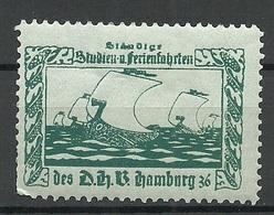 Germany Ca 1900 Studien- Und Ferienfahrten Schiffe Hamburg Vignette Reklamemarke Advertising Stamp * - Vignetten (Erinnophilie)
