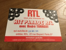 270/ CARTE D INVITATION RTL HIT PARADE RTL AVEC ANDRE TORRENT 1978 - Musique & Instruments