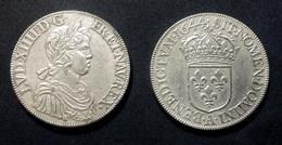 COPIE - 1 Pièce Plaquée ARGENT Sous Capsule ! ( SILVER Plated Coin ) - Louis XIV Ecu à La Mèche Courte 1644 - 987-1789 Monnaies Royales