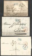 (D169) 3 Lettres De BRUXELLES (càd + B.3.R. En Bleu Et Par Val-nes En Rouge ) Vers Nonancourt Et Paris - 1830-1849 (Belgique Indépendante)