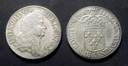 COPIE - 1 Pièce Plaquée ARGENT Sous Capsule ! ( SILVER Plated Coin ) - Louis XIV Ecu Au Buste Drapé 1687 - 987-1789 Monnaies Royales