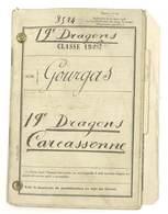 Livret Militaire 19e Dragons Carcassonne, Classe 1906, Nom : Gourgas De Montpellier, + Lettres - Documents