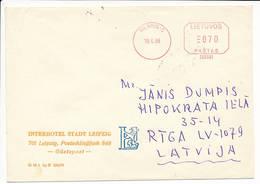 Meter Cover #260001 / Pitney Bowes - 19 April 1995 Vilnius-C To Latvia - Lithuania