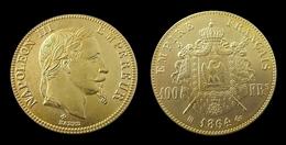 COPIE - 1 Pièce Plaquée OR Sous Capsule ! ( GOLD Plated Coin ) -  100 Francs Napoléon III Tête Laurée 1864 BB - France