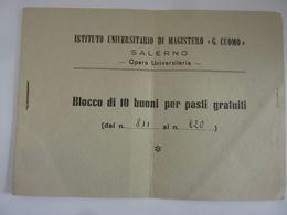 """Libretto """"ISTITUTO UNIVERSITARIO DI MAGISTERO G. CUOMO SALERNO - BLOCCO BUONI"""" Anni '60 Solo Tagliandi - Pubblicitari"""