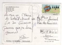 Vignette De Distributeur N° 32 à 70 Pesetas Sur CP , Carte , Postcard Du 23/08/2000  Pour La France - 1991-00 Lettres