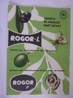 """Pieghevole """"ROGOR - L  Contro La Mosca Dell' Olivo  MONTECATINI MILANO"""" 1956 - Pubblicitari"""