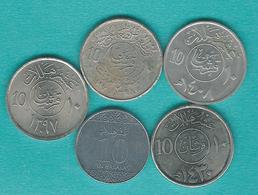 Saudi Arabia - 10 Halalat - 1977 (KM44) 1978 - FAO  (KM58) 1988 (KM62) 2009 (KM70) & 2016 - Arabie Saoudite