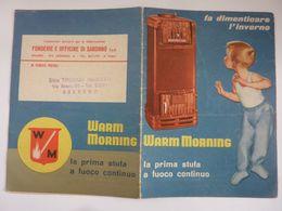 """Pieghevole  Illustrato """"WARM MORNING  - FONDERIE E OFFICINE DI SARONNO S.p.A. MILANO"""" Anni '50 - Pubblicitari"""