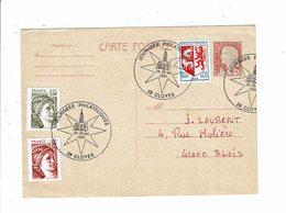 Carte Postale JOURNEES PHILATELIQUES CLOYES 24 25 Octobre 1981 étoile église Cachet Temporaire Obliteration - Marcophilie (Lettres)