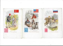 Lot De 3 Cartes - La POSTE - Aux Etats Unis D'Amérique - En RUSSIE - En TURQUIE  -  L 1 - Poste & Facteurs