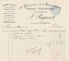 """PARIS  02 - 53 Passage Des Panoramas - ébénisterie ,séchoir à Cigares... """"F. PIGNOT  Lot De 2 Factures - 1800 – 1899"""