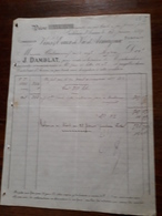 L12/37 Ancienne Facture. Vins , Eaux De Vie D'Armagnac. J.Damblat. Castelnau D'Auzan . 1889 - Frankrijk