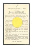Faire-part De Décès De Mde Barbe GOFFART Vve De N. Decharneux - LIEGE 1925 (b243) - Décès