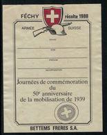 Rare // Etiquette De Vin //  Militaire  //  Féchy, 50ème Anniversaire De La Mobilisation De 1939 - Militaire