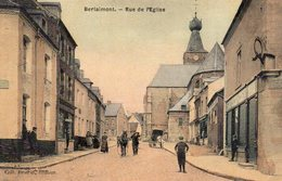 59 Berlaimont, Rue De L'eglise, Carte Toilée Couleur - Berlaimont
