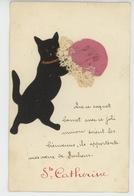 CHATS - CAT - Jolie Carte Fantaisie Chat Noir En Feutrine Et Bonnet Brodé De SAINTE CATHERINE - Saint-Catherine's Day