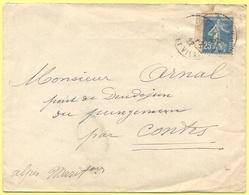 FRANCIA - France - 1922 - 25c Semeuse + Cachet Hexagonal Au Dos - Viaggiata Da Dinard Per Bendejun, Contes - Storia Postale