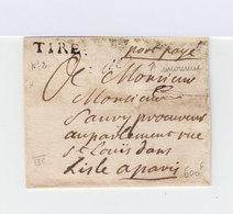Sur Partie De Lettre à M. Sauvy Procureur Au Parlement Paris, Cachet Linéaire Tire. Mention Port Payé. (1012x) - Postmark Collection (Covers)