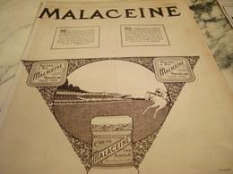 ANCIENNE PUBLICITE REPRISE DES COURSES  POUDRE DE RIZ  MALACEINE 1919 - Parfums & Beauté