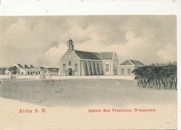 Aruba A.H. Iglesia San Francisco Oranjestad  No 10  Undivided Back Sent To Fort De France Martinique - Aruba