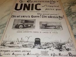 ANCIENNE PUBLICITE LES CAMIONNETTES  UNIC  1919 - Camions