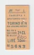 BIGL--00042-- BIGLIETTO FERROVIE DELLO STATO-TARIFFA 1 - TORINO P.NUOVA-SPOTORNO-TORINO P.NUOVA 30-12-1986 - Treni