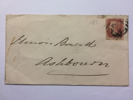 GB Victoria 1876 Cover Uttoxeter To Ashbourne Tied With 1d Red Plate 183 - Brieven En Documenten