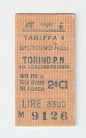 BIGL--00043-- BIGLIETTO FERROVIE DELLO STATO-TARIFFA 1 - TORINO P.NUOVA-SPOTORNO-TORINO P.NUOVA 19-12-1987 - Treni