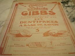 ANCIENNE PUBLICITE SAUVEZ VOS DENTS  LE GIBBS 1919 - Parfums & Beauté