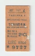 BIGL--00044-- BIGLIETTO FERROVIE DELLO STATO-TARIFFA 1 - TORINO P.NUOVA-SPOTORNO-TORINO P.NUOVA 25-5-1988 - Treni