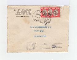 Sur Envelppe 10 C. Rouge République D'Haïti. CAD Cayes Haïti 1936. Cachet H. CAD Port Au Prince Et Slogan Café. (1014x) - Haïti