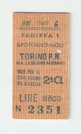 BIGL--00045-- BIGLIETTO FERROVIE DELLO STATO-TARIFFA 1 - TORINO P.NUOVA-SPOTORNO-TORINO P.NUOVA 11-1-1989 - Treni
