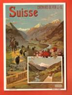 TRJ-41 Repro Affiche Chemins Fer Jura-Simplon Hugo D'Alési 1895.Chèvre, Mulet, Non Circulé,Grand Format - VS Valais