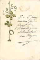 ANNO 1899 - IN RILIEVO - F. PICCOLO (retro Indiviso) - VIAGGIATA 01/01/1899 - (rif. D89) - Anno Nuovo
