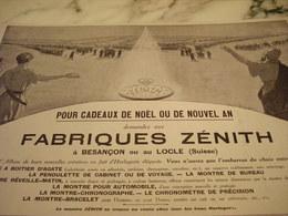 ANCIENNE PUBLICITE NOEL OU NOUVEL AN FABRIQUE MONTRE ZENITH   1915 - Jewels & Clocks