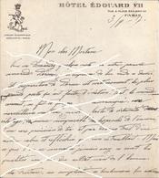MANUSCRIT  3 8 1917 -  SUR PAPIER HOTEL EDOUARD VII  PARIS  -  SIGNE E. DUARTEL  - DISPARITION D'UN CAMARADE - 1914-18