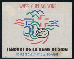 Rare // Etiquette De Vin //  Curling  //  Fendant, Swiss Curling Wine - Etiquettes