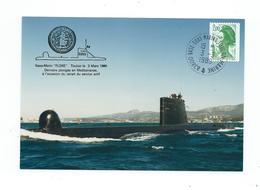 16897 - SOUS-MARIN FLORE - DERNIERE PLONGEE - RETRAIT SERVICE ACTIF 1989 - Marcophilie (Lettres)