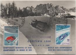 Cortina D'Ampezzo (Belluno): Campionati Mondiali Di Bob 1966. Viaggiata Con Annullo Primo Giorno Di Emissione - Sports D'hiver