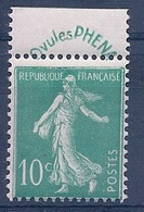 FRANCE - 188  10C VERT SEMEUSE BANDE PHENA NEUF* MLH COTE 45 EUR - France